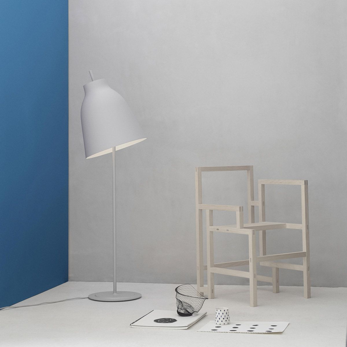 Matt gray Caravaggio lamp by Cecilie Manz edited by LightYears