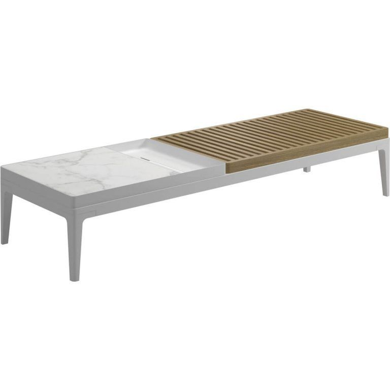 Grid white rectangular coffee table - Gloster