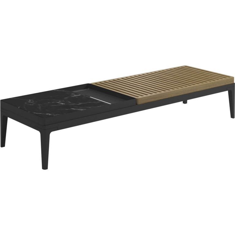 Grid Rectangular Nero coffee table - Gloster