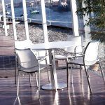 Gas chair with white arms by Jesús Gasca edited by Stua