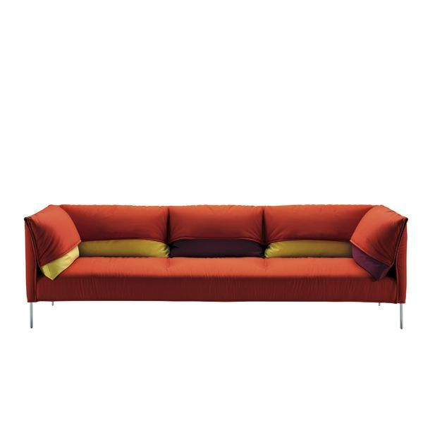 The Scott sofa is designed by Anna von Schewen of the year 2014 for the company Zanotta. Details: Polished aluminum alloy legs. Steel structure. Suspension on elastic bands. Polyurethane padding. Seat cushion in polyurethane of differentiated densities / termounida polyester fiber. Fixed inner lining of nylon fabric. External coverings stitched with thermoset polyester fiber, removable from fabric or leather. Two-seater, three-seater sofa and other configurations. Price for the three-seater sofa (257 cm) in fabric manufacturer's 20 category, fabric sample available in store. Consult with naharro all finishes, configurations and price.