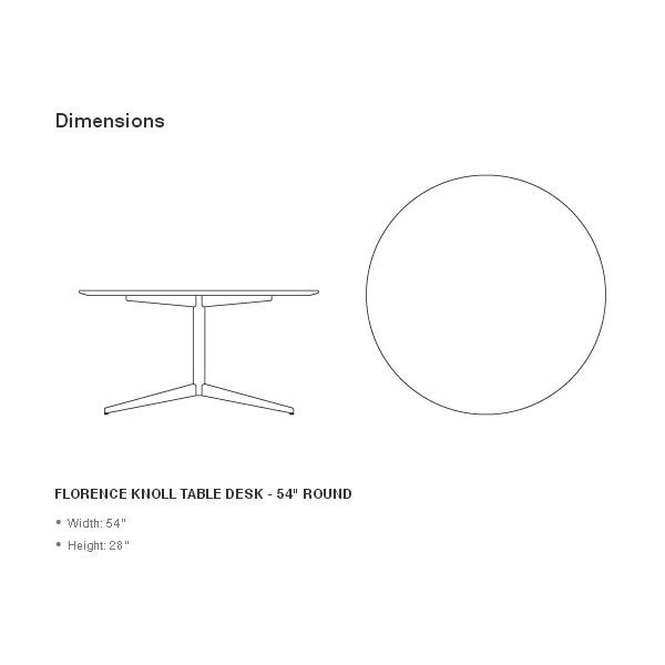 The round table Florence by Knoll is designed by Florence Knoll of the year 1961. It is a functional and versatile table, the result of perfect details and proportions, anything but a piece of filler. Details: Steel structure, with polished or satin chrome finish. Board in white laminate, wood, glass or marble of different finishes. Logo and signature of the brand and designer at the base of the table. Price for table with polished chrome structure and white laminate. See more information on all the finishes of the lid in Naharro stores.