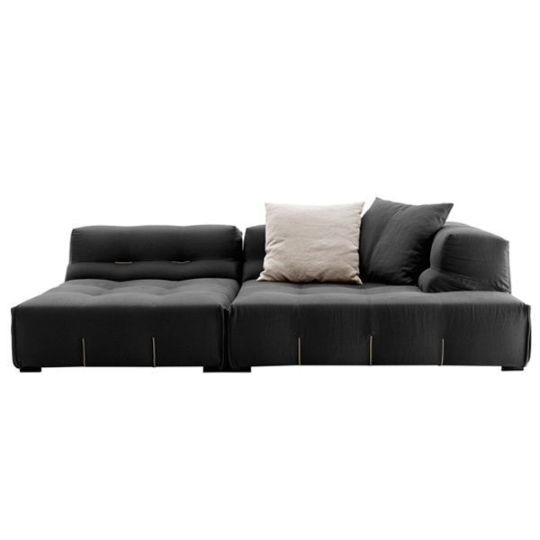 With the Tufty-Too sofa, Patricia Urquiola has created one of the most successful designs in her close collaboration with B & B Italia and adds a new, modern and soft look to this family of sofas. The Tufty Too sofa is presented as an informal system, through free and versatile configurations. Tufty Too becomes a meeting place, a cozy refuge where you can leave to rest or a comfortable gathering. The new range of fabrics offers interesting alternatives both for texture and color, complement already existing elements. Price for composition formed by 1 module T102C_4N and 1 module T109BD_4N, fabric upholstery Category A from the manufacturer. Includes 2 back cushions 60 x 60 cm. Tissue samples available at the store. Consult more information and prices for measurements and compositions.