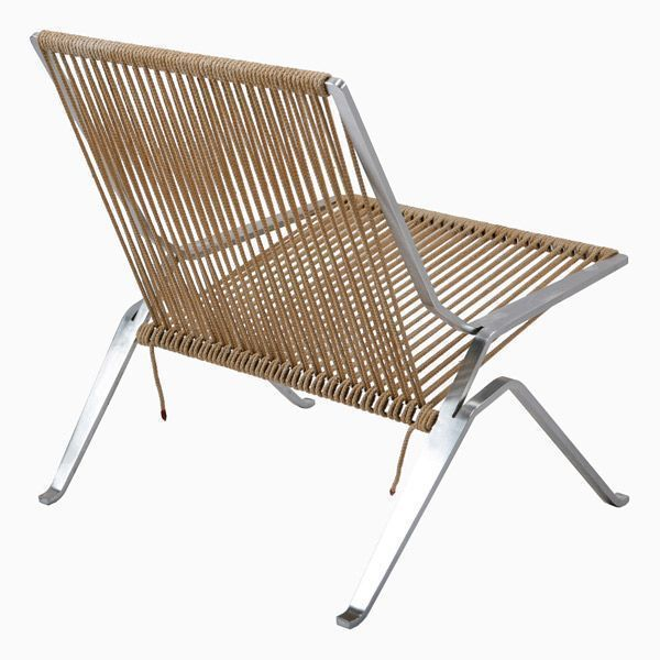 """The armchair PK25 â """"¢ is designed by Poul Kjaerholm for the firm Fritz Hansen.The base of the chair is made of one piece in matt chromed steel. A long rope is wound around the structure forming the seat and the backrest through the simplicity of its curved shapes. Details: Structure in chromed steel. Seat and backrest made in natural rope. See more information in Naharro's shop."""