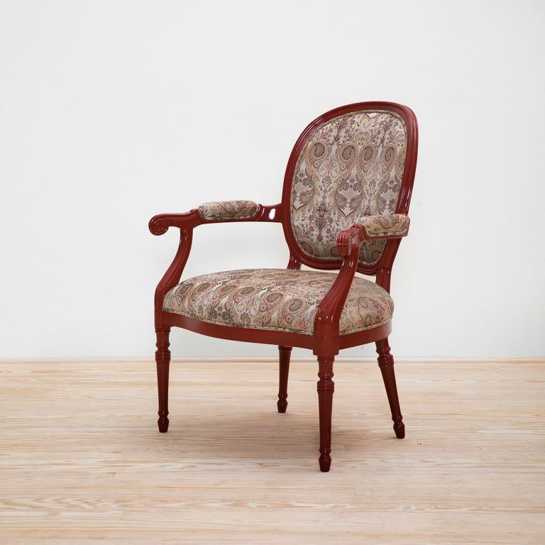 Louis XVI armchair Red lacquered