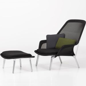 Slow Chair & Ottoman Armchair Black - Vitra